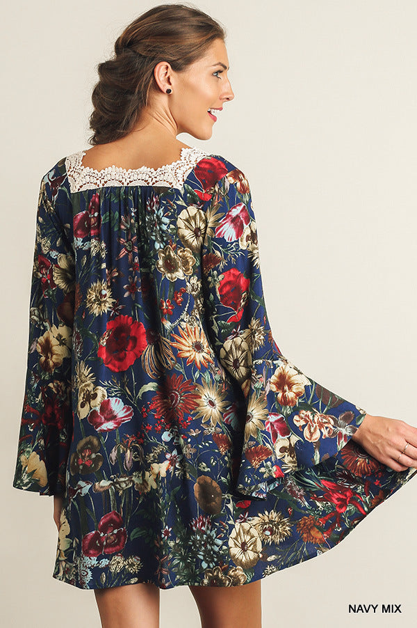 Floral A line dress/tunic with Crochet trim back