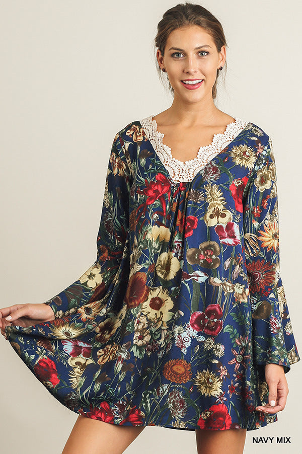 Floral A line dress/tunic with Crochet trim front