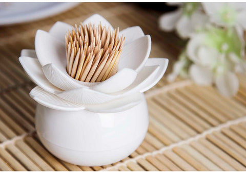 Lotus Toothpick & Cotton Swab Holder