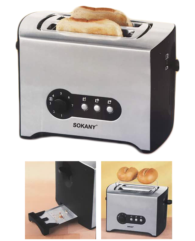 Sokany Stainless Steel 2-Slice Toaster