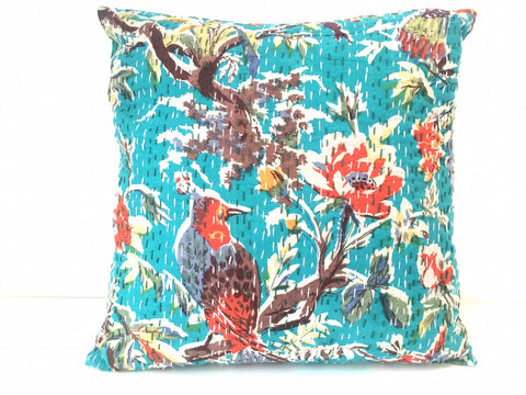 Turquoise Kantha Cushion Cover