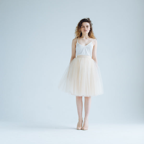 Ivory Odile Tulle Skirt -24 in