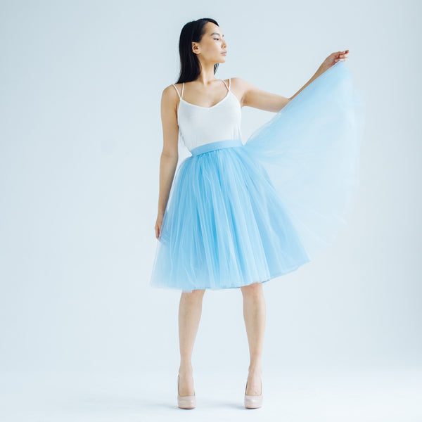 OVER THE KNEE Sky Blue Odile Skirt