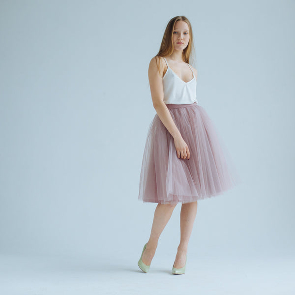 OVER THE KNEE Rose Taupe Odile Skirt