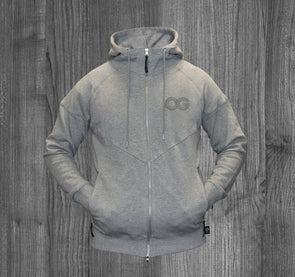OG ZIP UP HOODY.  HEATHER GREY / GREY