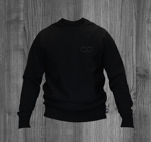 OG CREW SWEATSHIRT.  ALL BLACK