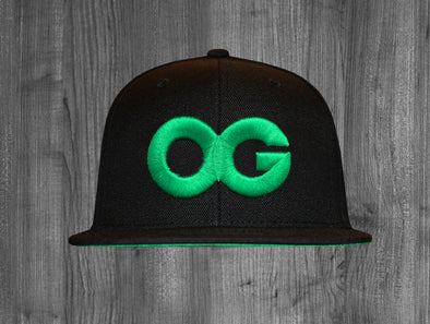 OG SNAP BACK.  BLACK / KELLY GREEN