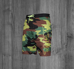 ORIGINAL BOARD SHORTS.  CAMO / NEON YELLOW