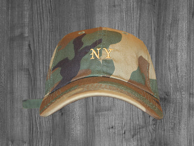 FEEL LIKE NY DAD HAT.  WOODLAND CAMO / GOLD