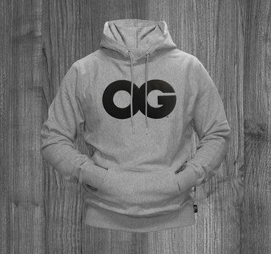 OG HOODY.  HEATHER GREY / BLACK TWILL