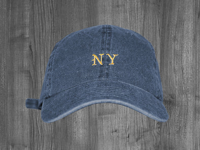 FEEL LIKE NY DAD HAT.  INDIGO BLUE / GOLD