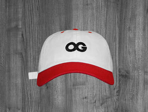 OG DAD HAT.  WHITE & RED MIX / BLACK
