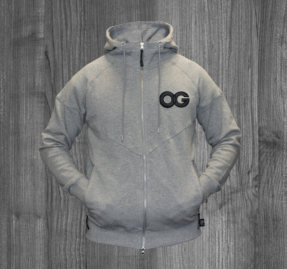 OG ZIP UP HOODY.  HEATHER GREY / BLACK