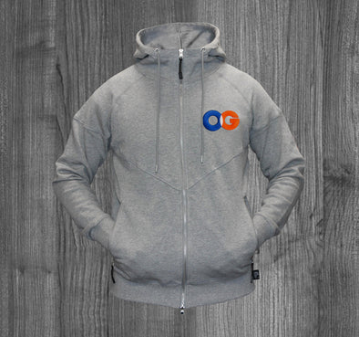OG ZIP UP HOODY.  HEATHER GREY / ROYAL BLUE, WHITE, ORANGE