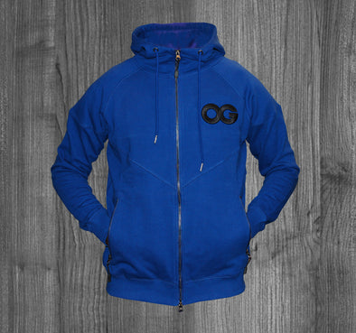 OG ZIP UP HOODY.  ROYAL BLUE / BLACK