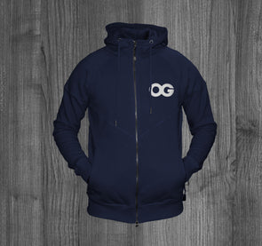 OG ZIP UP HOODY.  NAVY BLUE / WHITE