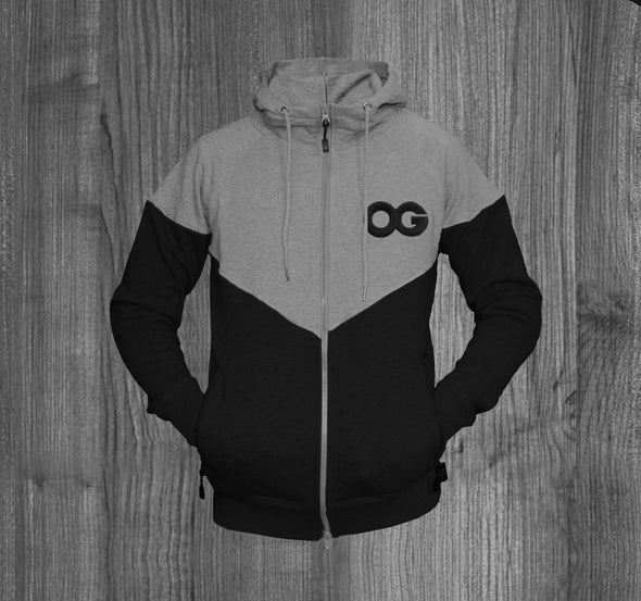 OG ZIP UP HOODY. HEATHER GREY & BLACK  /  BLACK