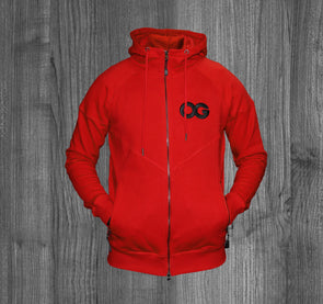 OG ZIP UP HOODY.  RED / BLACK