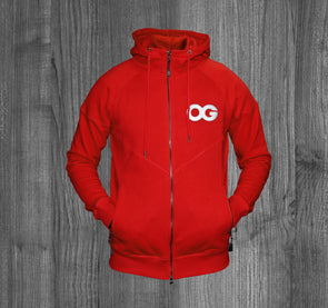 OG ZIP UP HOODY.  RED / WHITE
