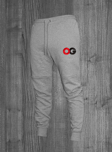 OG JOGGERS.  HEATHER GREY / RED & BLACK