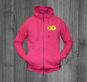 OG ZIP UP HOODY.  MAGENTA / NEON YELLOW