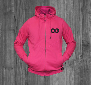 OG ZIP UP HOODY.  MAGENTA / BLACK