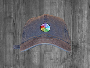 STILL PROCESSING DAD HAT.  INDIGO / MULTI COLOR