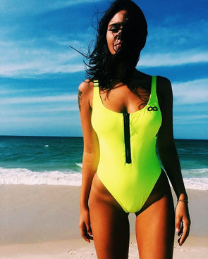 OG SWIMSUIT.  NEON YELLOW / BLACK