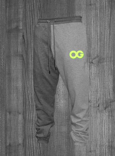 OG SWEATPANTS.  HEATHER GREY & CHARCOAL GREY / NEON YELLOW