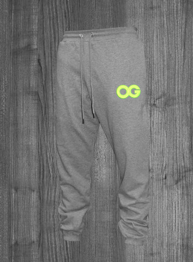 OG SWEATPANTS.  HEATHER GREY / NEON YELLOW