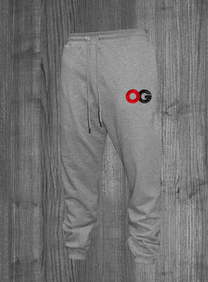 OG SWEATPANTS.  HEATHER GREY / BLACK & RED