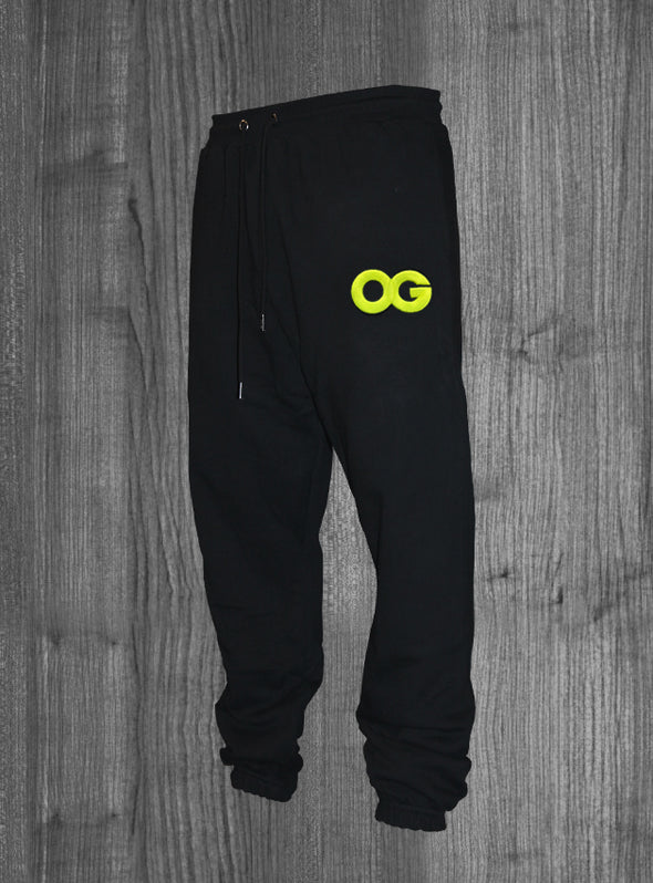 OG SWEATPANTS.  BLACK / NEON YELLOW