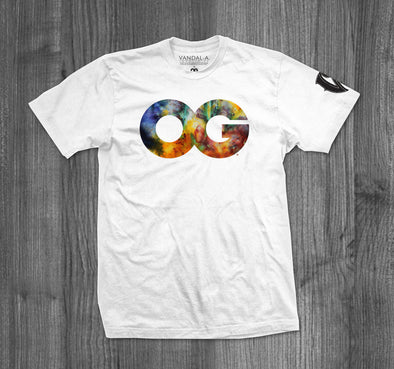 OG TIE DYE T-SHIRT.  WHITE / MULTI COLOR