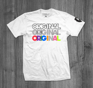 ORIGINAL T-SHIRT.  WHITE / MULTI COLOR