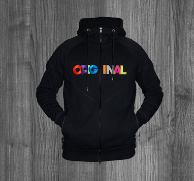 ORIGINAL ZIP UP HOODY.  BLACK / MULTI COLOR