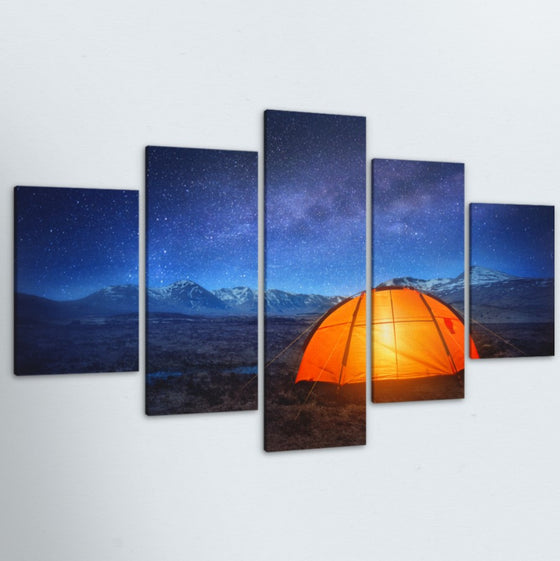 Camping With The Stars 5 Piece Canvas