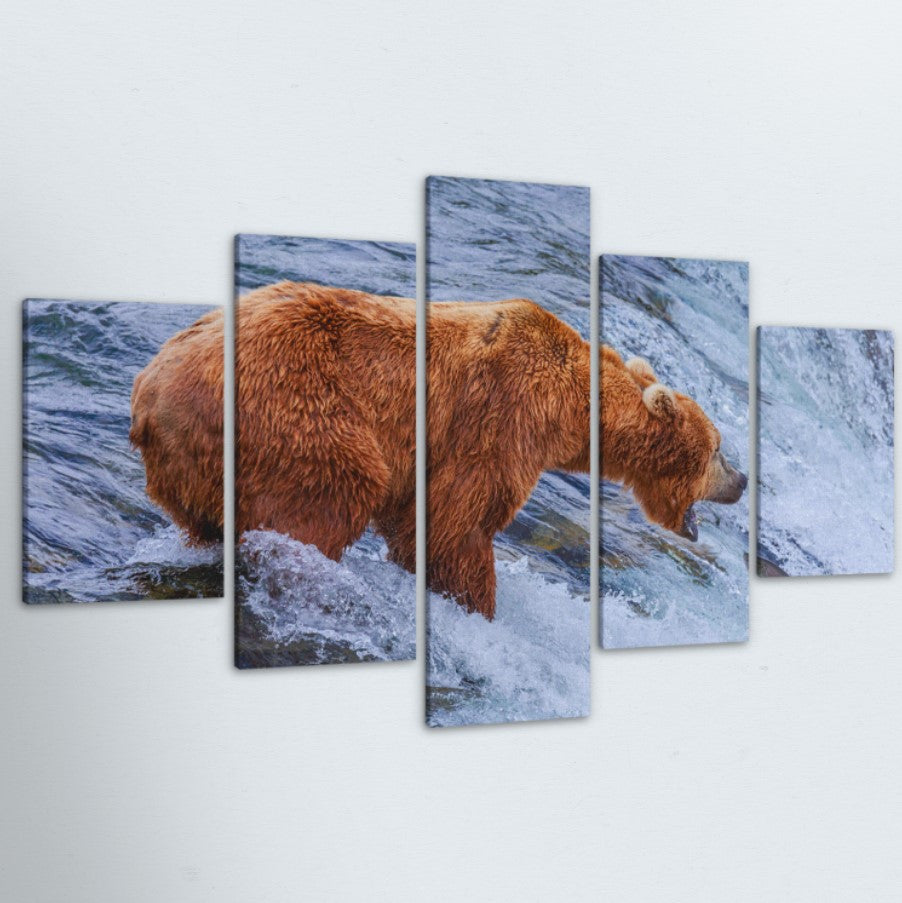 Fishing Grizzly 5 Piece Canvas