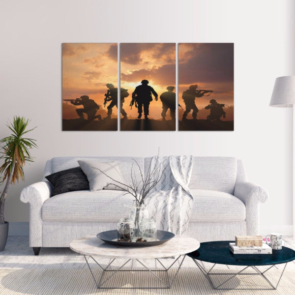 Military Soldiers Silhouette 3 Piece Canvas