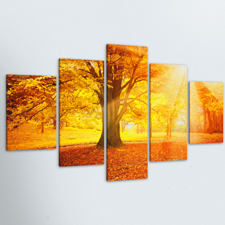 Autumn Morning 5 Piece Canvas
