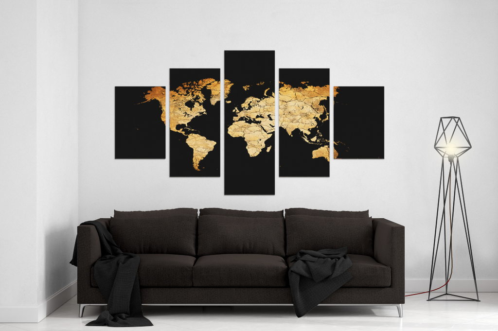 New Black World Map 5 Piece Canvas