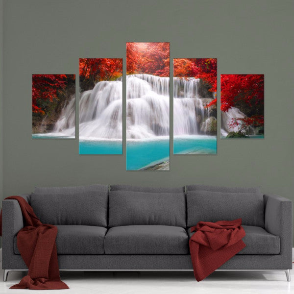 Red Oasis 5 Piece Canvas