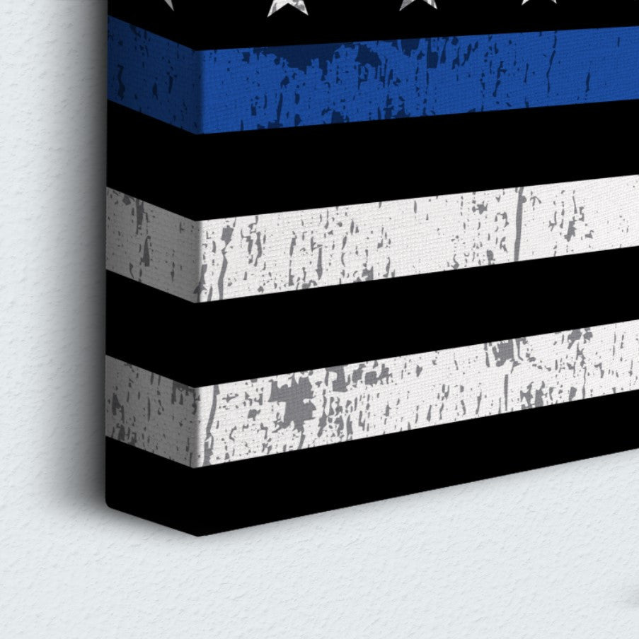 USA Blue Line Flag 3 Piece Canvas