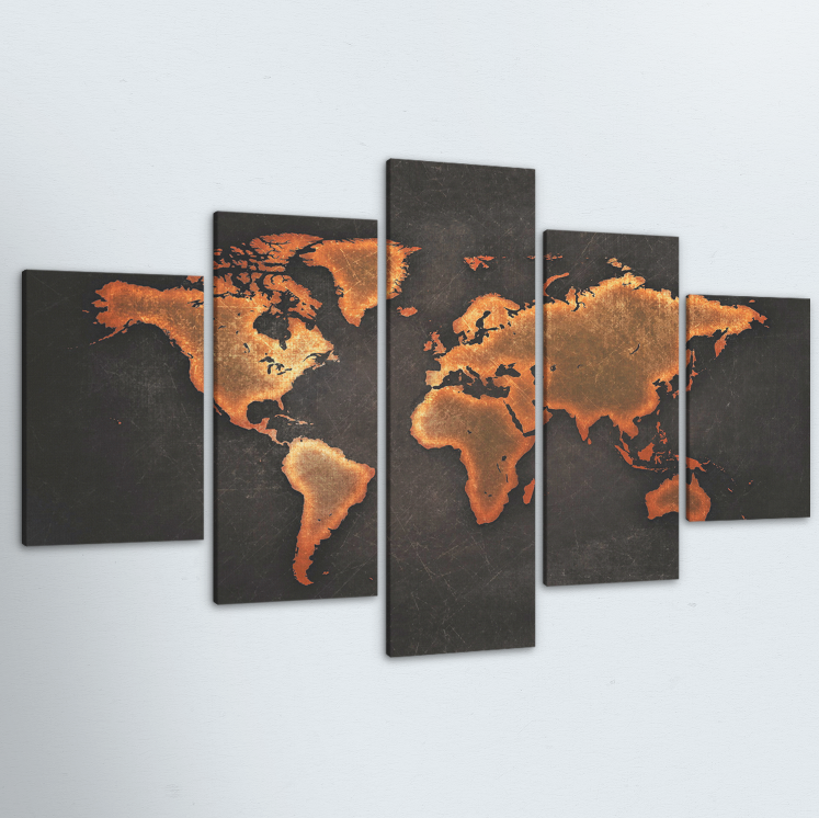 Black World Map 5 Piece Canvas
