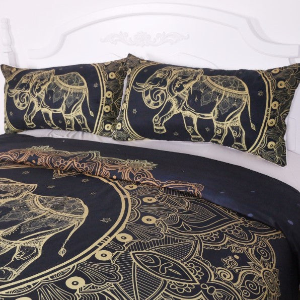 Black And Gold Elephant Bedding