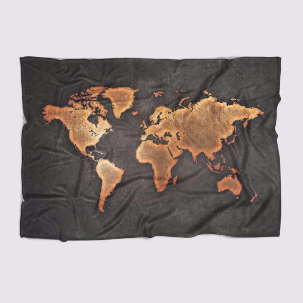 Black World Map Blanket Readysetdecor - World map blanket