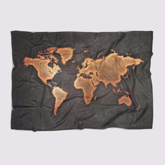 Black World Map Blanket