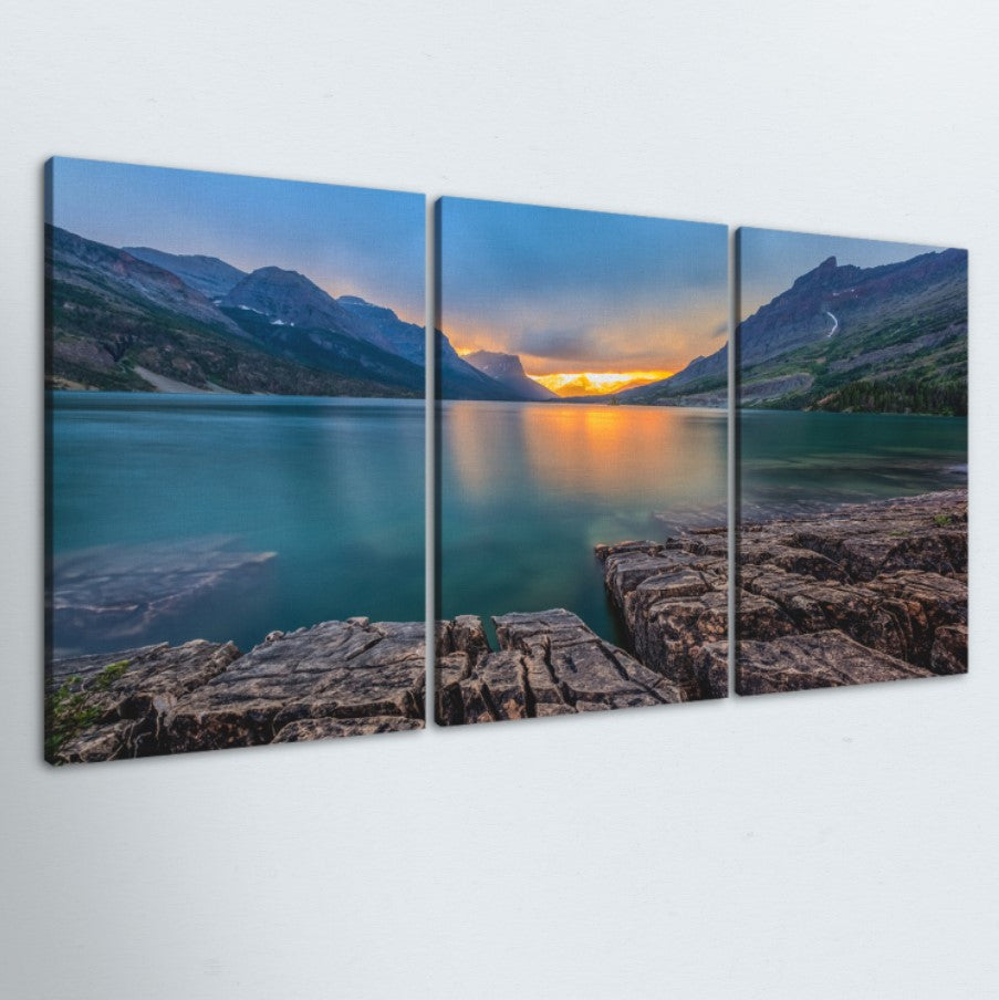 Turquoise Sunrise 3 Piece Canvas