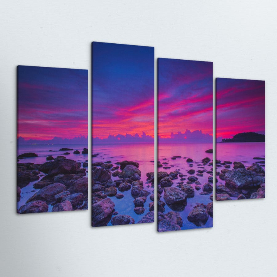 Purple Sunrise 4 Piece Canvas