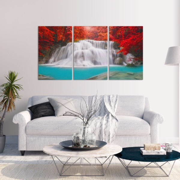 Red Oasis 3 Piece Canvas