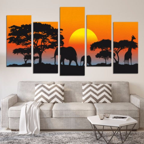Sunset Silhouette 5 Piece Canvas